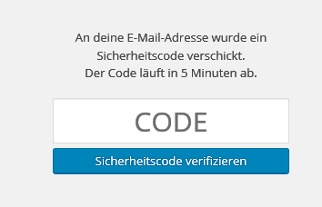 Anmelden: Code eingeben