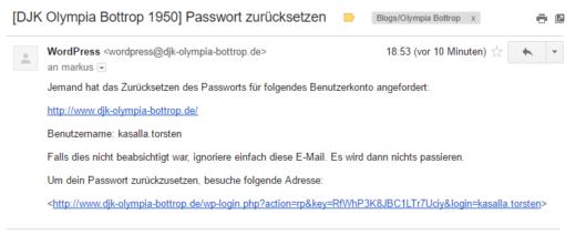 Passwort vergessen: Mail-Bestätigung
