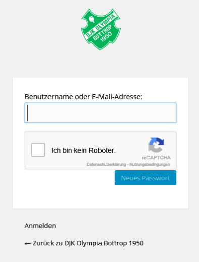 Passwort vergessen: neues Passwort anfordern