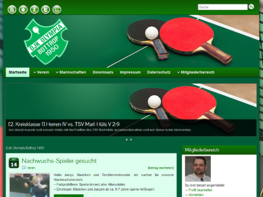 Anfang der Homepage