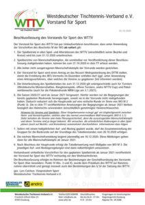 Beschluss des WTTV vom 25.10.2020