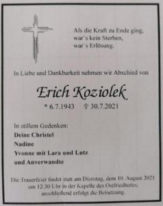 Todesanzeige Erich Koziolek